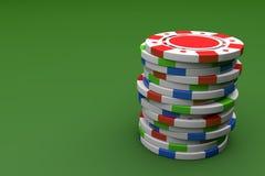 Colore che gioca Chip Stack sulla Tabella di gioco verde royalty illustrazione gratis