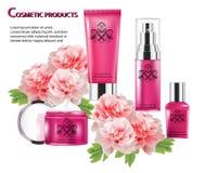 Colore cosmetico di rosa del prodotto e fiore di cinese immagini stock