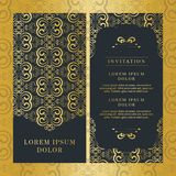 Colore d'annata dell'oro di progettazione di vettore della carta dell'invito di nozze fotografia stock
