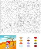 Colore dal gioco educativo di numero per i bambini Il drago porpora cammina w Fotografie Stock Libere da Diritti