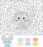 Colore dal gioco educativo di numero per i bambini Mouse sveglio Vettore IL Immagini Stock