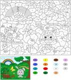 Colore dal gioco educativo di numero per i bambini Radura della foresta con una h illustrazione di stock
