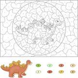 Colore dal gioco educativo di numero per i bambini Stegosaurus del fumetto royalty illustrazione gratis