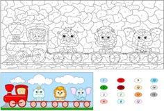 Colore dal gioco educativo di numero per i bambini Treno divertente del fumetto Immagini Stock Libere da Diritti