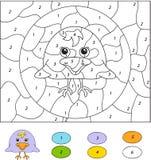 Colore dal gioco educativo di numero per i bambini Uccellino implume sveglio del corvo Fotografia Stock