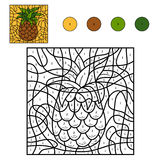 Colore dal numero: ananas Fotografie Stock Libere da Diritti