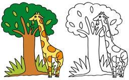 COLORE dei fogli di cibo della giraffa e BW svegli Royalty Illustrazione gratis