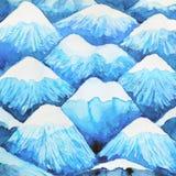 Colore del blu di progettazione dell'illustrazione del modello della montagna della pittura dell'acquerello Immagini Stock Libere da Diritti