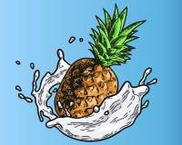 Colore del latte dell'ananas Fotografia Stock