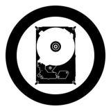 Colore del nero dell'icona del disco del disco rigido nel cerchio Fotografia Stock
