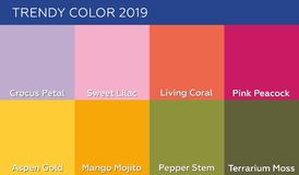Colore del pantone di corallo vivente di anno 2019 ed altri colori alla moda delle persone neutrali e di tendenza di 2019 primave illustrazione di stock