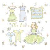 Colore del vestito dalla bamboletta verde blu Immagini Stock