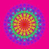 Colore dell'arcobaleno della mandala del cerchio sul rosa Fotografie Stock Libere da Diritti