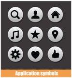 Colore dell'argento dell'insieme di simboli del pittogramma di applicazione Fotografie Stock
