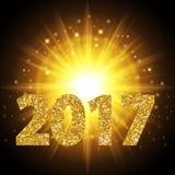 Colore dell'oro del testo del nuovo anno 2017, luce intensa, luce dorata realistica del fondo Astrazione luminosa di progettazion Fotografia Stock Libera da Diritti