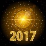 Colore dell'oro del testo del nuovo anno 2017, luce intensa, luce dorata realistica del fondo Progettazione moderna della lente d Fotografie Stock