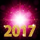 Colore dell'oro del testo del nuovo anno 2017, luce intensa, una luce realistica di cremisi del fondo Abstractio luminoso di prog Fotografia Stock
