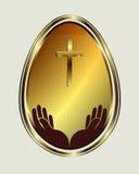Colore dell'oro dell'uovo di Pasqua Fotografia Stock