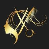 Colore dell'oro di forbici di lavoro di parrucchiere e della ragazza illustrazione vettoriale