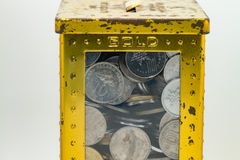 Colore dell'oro e dell'argento delle monete malesi Fotografie Stock