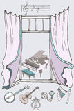 Colore della finestra music2 Fotografia Stock Libera da Diritti