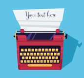 Colore della macchina da scrivere sulla tavola Fotografia Stock Libera da Diritti