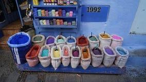 Colore della parete in Chefchaouen Fotografia Stock Libera da Diritti