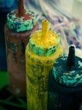 Colore della pittura in bottiglia Fotografie Stock Libere da Diritti