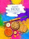 Colore della polvere gulal per il fondo felice di Holi illustrazione vettoriale