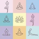 Colore 2 delle icone di yoga illustrazione di stock