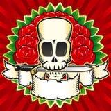 Colore delle rose del cranio Fotografia Stock Libera da Diritti