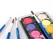 Colore di acqua e del pennello Immagine Stock