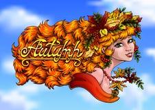 Colore di autunno della ragazza ed autunno della lettera sul cielo Fotografia Stock