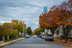 Colore di autunno lungo Hanson Street, in Easton, Maryland Fotografia Stock