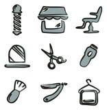 Colore di Barber Shop Icons Freehand 2 Fotografie Stock Libere da Diritti