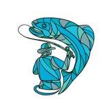 Colore di Catching Trout Mosaic del pescatore della mosca illustrazione vettoriale