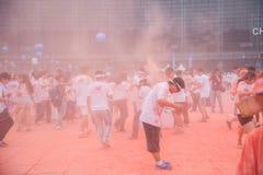 Colore di Chongqing Exhibition Center fatto funzionare in giovani Fotografie Stock Libere da Diritti