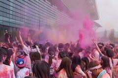 Colore di Chongqing Exhibition Center fatto funzionare in giovani Fotografia Stock Libera da Diritti