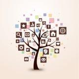 Colore di concetto dell'albero dell'icona di Web retro Immagine Stock