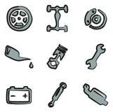 Colore di Icons Freehand 2 del meccanico di automobile Immagine Stock