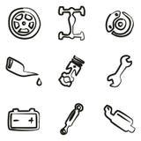 Colore di Icons Freehand 2 del meccanico di automobile Fotografia Stock Libera da Diritti