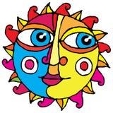 Colore di illustrazione semplice della mano del grande sole dell'occhio Fotografie Stock