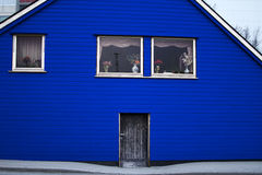 Colore di legno del blu della porta di entrata di architettura della Camera Fotografia Stock Libera da Diritti
