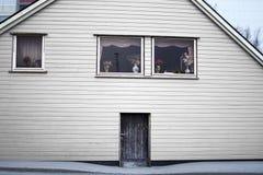 Colore di legno di bianco della porta di entrata di architettura della Camera Fotografia Stock