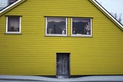 Colore di legno di giallo della porta di entrata di architettura della Camera Fotografie Stock