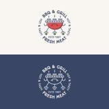 Colore di logo della griglia e del BBQ e linea stile stabiliti con la carne fresca del segno Fotografia Stock Libera da Diritti