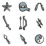 Colore di Ninja Icons Freehand 2 Immagini Stock