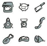 Colore di Shop Icons Freehand 2 del macellaio Immagini Stock