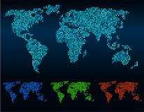 Colore di tono astratto di vettore 4 della mappa di mondo degli angoli quadrati illustrazione di stock