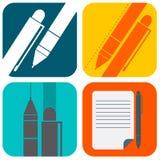 Colore di vettore dell'icona della penna Fotografie Stock Libere da Diritti